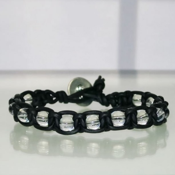 Leather Macrame Bracelet with Clear Quartz Beads