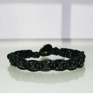 Leather Macrame Bracelet with Smokey Quartz Beads