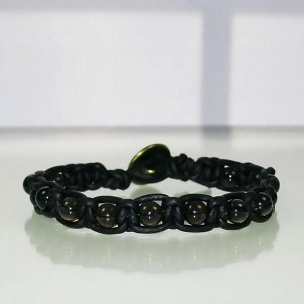 Leather Macrame Bracelet with Smokey Quartz Beads