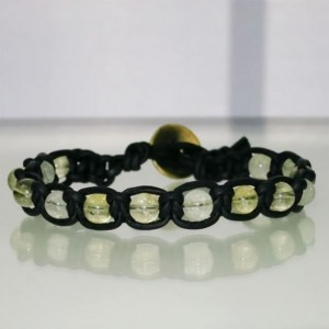 Leather Macrame Bracelet with Citrine Beads