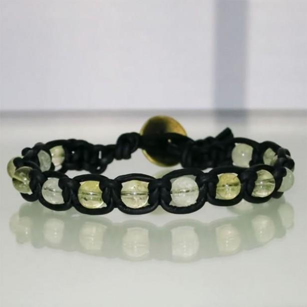 Leather Macrame Bracelet with Citrine Beads