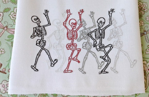 Dance of the Skeletons - Danse Macabre - Embroidered Cotton Dish Towel - Genuine Flour Sack Towels