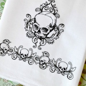 Toile Noir Skulls - Embroidered Cotton Dish Towel - Genuine Flour Sack Towels - Goth Towel - Spooky Towels