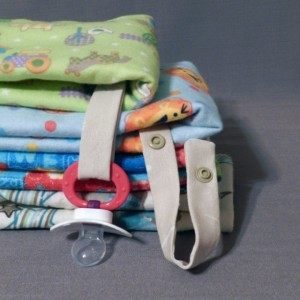 Baby Boy Pacifier Strap Burp Cloth and Wash Cloth Gift Set