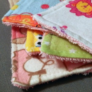 Grab Bag! Set of 5 Baby Girl Flannel and Pink Terry Cloth Washcloths