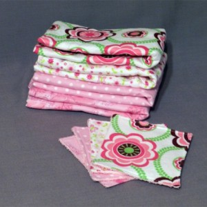 Baby Girl Pacifier Strap Burp Cloth and Wash Cloth Gift Set