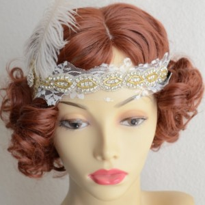 READY TO SHIP, Lace Feather headband, Rhinestone beaded headband,1920s headpiece,Gold headband,Downton Abbey headpiece,Gatsby, ivory lace