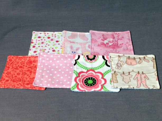 Grab Bag! Set of 5 Gender Neutral Flannel and Terry Cloth Baby Washcloths