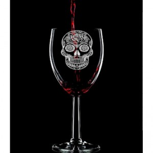 Sugar Skull Hand Etched Wine Glass