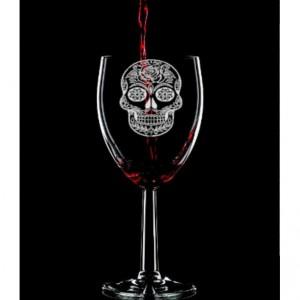 Sugar Skull Hand Etched Wine Glass