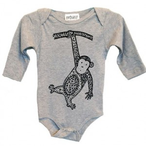 Long-Sleeve Gray Monkey Baby Onesie Cotton American Apparel One-Piece Bodysuit