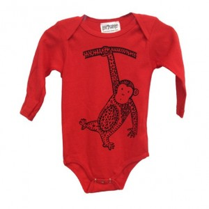 Long-Sleeve Red Monkey Baby Onesie Cotton American Apparel One-Piece Bodysuit