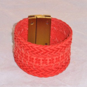 Red or Beige Braided Bracelet with Strong Brass colored Magnetic Clasp.