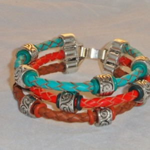 Turquoise, Brown, and Red Braided Leather Wrap Bracelet with Silver Metal Spacer Beads and  A Triple Tube Fold Over Clasp, Womens Cuff