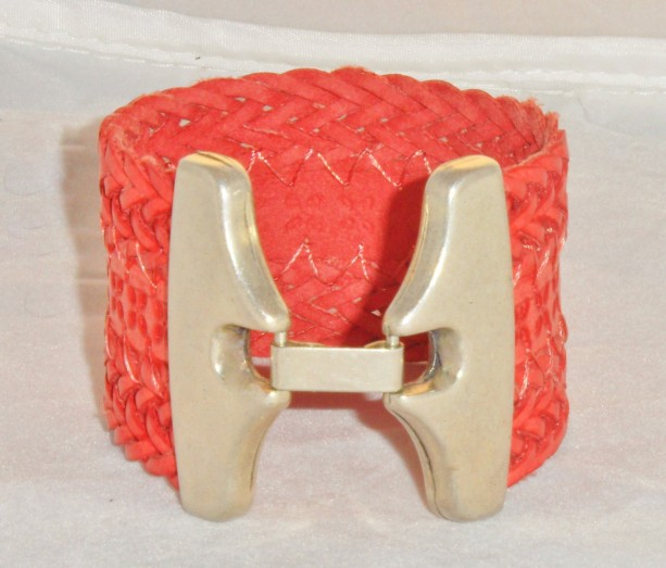 Red Embossed Braided Bracelet with Butterfly Style Silver Plated Zamak Hook Clasp.