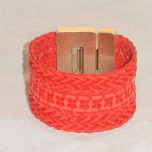 Red Braided Bracelet with Buckle Styled Zamak Magnetic Clasp.