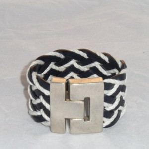 Navy Blue Leather and Jute Braided Bracelet with Zamak Magnetic Clasp, Womens Cuff Bracelet