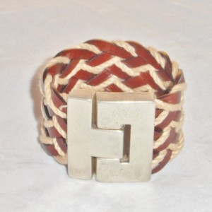 Brown Leather and Jute Bracelet with a Zamak Silver Plated Magnetic Clasp.  Womens Leather Cuff Bracelet