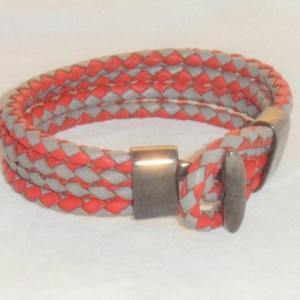Red and Gray Leather Bracelet, Red & Gray Quad Wrapped Leather Braided Bracelet with Plumbum Black Colored T-Bar Clasp