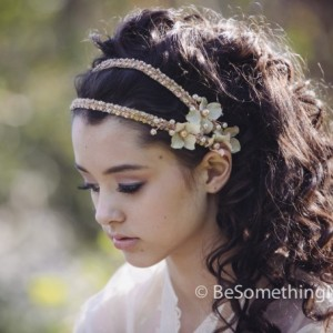 Boho Blush Wedding Tie Headband with Flowers and Beading