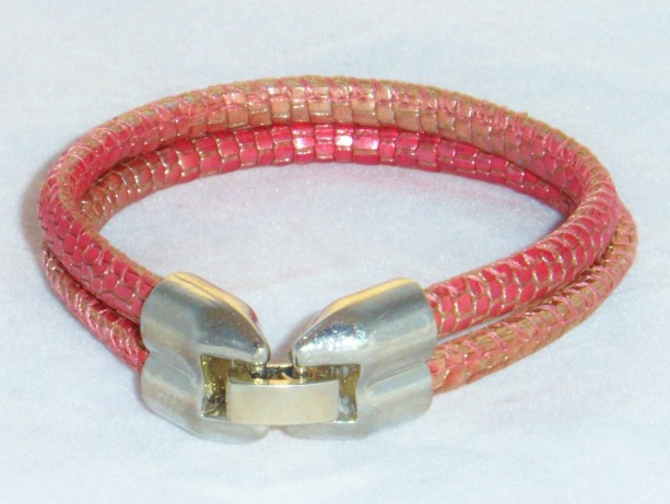 Ruby Red Metallic Reptile Printed  Soft Leather Bracelet with a Double Barrel Platinum Fold Over Clasp.