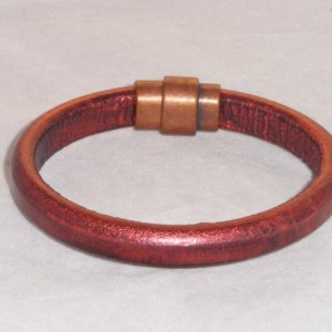 Mens, or womens stylish metallic copper leather bracelet or cuff with an antique copper magnetic clasp. Handmade Gift for him, Gift for her,