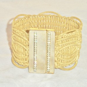 Beige Loop Braided Bracelet with a  Crystal Accented Zamak Silver Plated Magnetic Clasp.