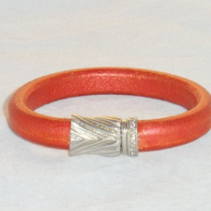 Red Metallic Copper Leather Bracelet With a White Gold Filled  Crystal Accented Snap Clasp.