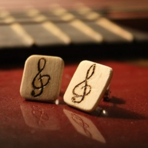 Wood Earrings. Musical Studs with Treble Clef wood burned design.