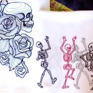 Toile Noir Skulls - Embroidered Cotton Dish Towel - Genuine Flour Sack Towels - Goth Towel - Spooky Towels