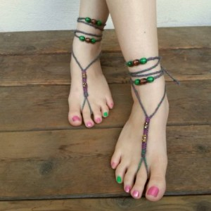 Barefoot Sandals - Soleless Sandals - Hippie Heels - Hobbit Heels - Braided Sandals - Hemp Sandals - Bohemian Footwear- Meadows