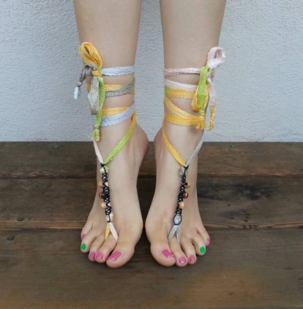 Barefoot Sandals - Yoga Shoes - Hippie Sandals - Hobbit Sandals - Hemp Sandals - Bohemian Footwear - Yoga Sandals - Ballerina