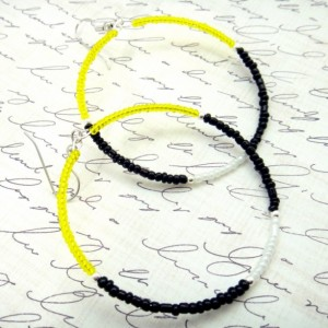 Yellow Black Hoops, Seed Bead Hoops, Color Block Earrings, Trendy Teen Earrings, Pittsburg Steelers, Boho Beaded Hoops, Yellow White Hoops