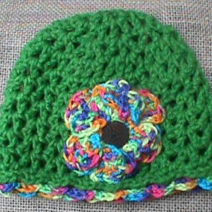 Crochet Hat With A Flower Toddler Size