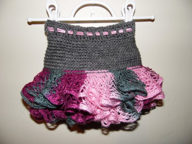 Girls Crochet Ruffle Skirt, The Glam, Grey with Multi-color Pink ...
