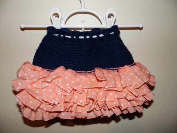 Girls Crochet Ruffle Skirt, The Parisian,  Navy Blue with Pink Polka Dot Ribbon Ruffle