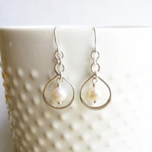 Sterling Silver Infinity Freshwater Pearl Earrings