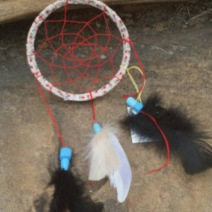Small Dream Catcher - Native American - Wall Hanging Home Decor  - Feather Art - Mixed Media Art - Spiritual Art - Car Charm - 5 inch