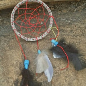 Small Dream Catcher - Native American - Wall Hanging Home Decor  - Feather Art - Mixed Media Art - Spiritual Art - Car Charm - 5 inch