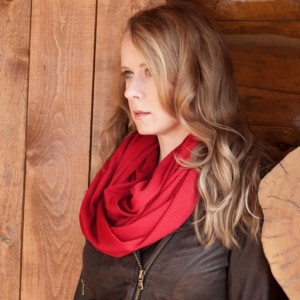 Red Ribbed Sweater Knit Infinity Scarf,