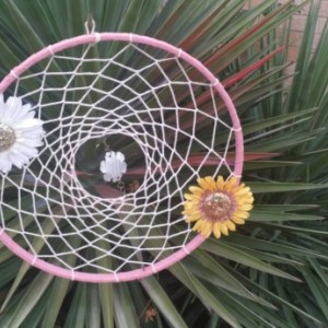 Large Dream Catcher - Outside Wall Hanging -  Extra Large 15 inch - Pink DreamCatcher - Handmade Wall Decor -  Wall Hanging -  Hippie