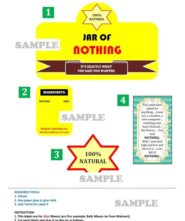 Printable Labels For Diy Quot Jar Of Nothing Quot Diy Gag Gift