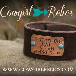 Rustic Cowgirl Leather and Copper Stamped Western Cuff - Boots On Hat Down Hang On