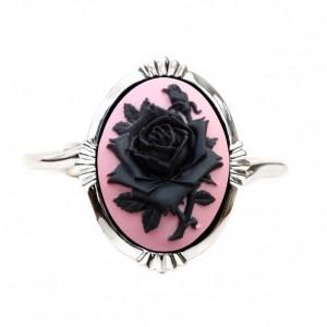 Bridal Rose Cameo Cuff Bracelet - Gothic Jewelry - Flower Bracelet