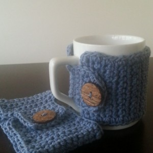 Coffee Mug Cozies in Blue & Pink 4 pc Set