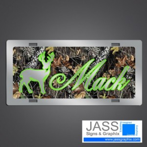 Camouflage Deer Hunter License Plate- Personalized Camo car tag for outdoorsmen, hunters, buck and doe lovers.