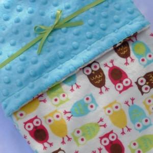 Baby Blanket, Owl Baby Blanket, Minky Baby Blanket, Baby Blanket Boy