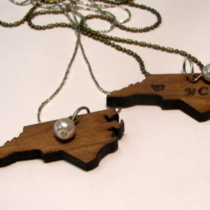 Wooden state charm (NC)  can be custom stamped and personalized, with your stone or pearl