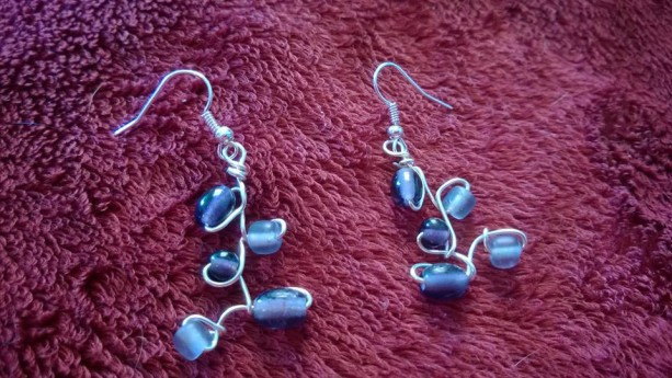 Wire wrapped glass bead earrings