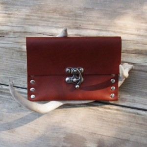 Handmade Leather Wallet with Nickel Rivets and Nickel Swivel Clasp by Bret Cali Leather Pouch